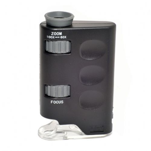 Pocket Microscope 60x - 100x Magnification LED Light Batteries Included